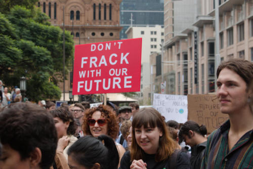 """Don't Frack our Future"" banner."