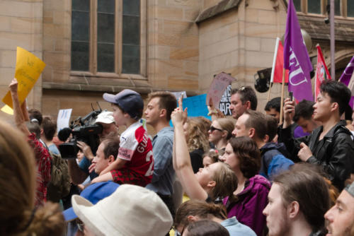 Detail of crowd at Sydney Climate Demo.