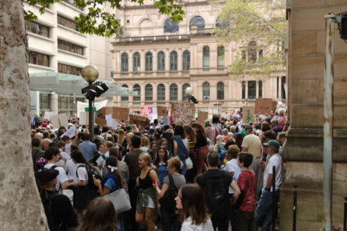 Crowd of young people at Sydney Climate Demo.