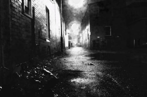 Back alley Katoomba night wet.